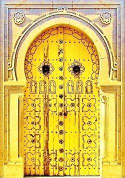 Yellow door in Fes, Morocco