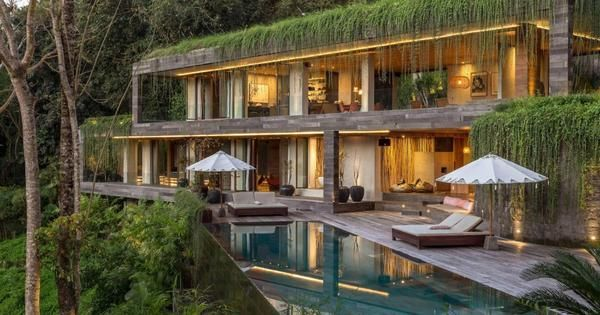 Lush Tropical Home With Modern Industrial Architecture Bali House Concrete House Jungle House
