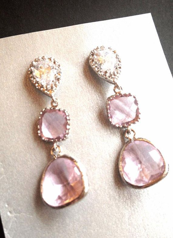 Light Pink CZ Teardrop Bridesmaid Earrings // cubic zirconia // long earrings // blush // wedding earrings // vintage // bridal earrings on Etsy, $46.00