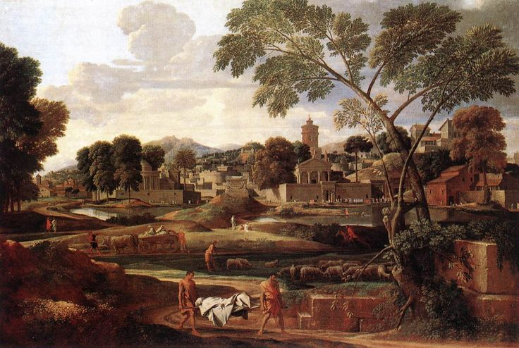 Nicolas Poussin -Landscape with the funeral of Phoceon 1648