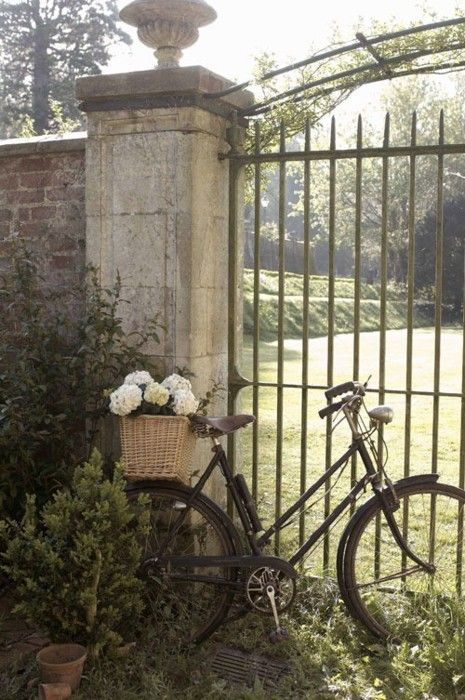 At the gate.../Bicycles, Secret Gardens, Vintage Bikes, Gardens Gates, Baskets, Old Gates, Flower, Country, Iron Gates