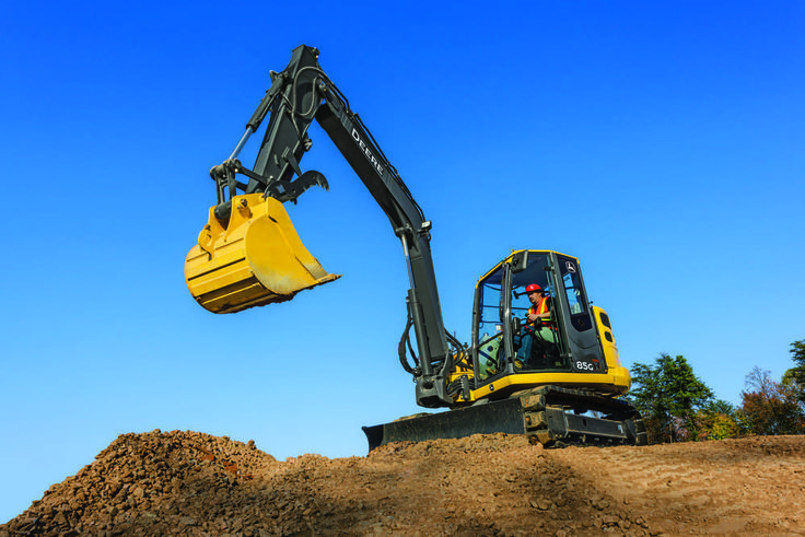 Capable of working around congested job sites in efficient fashion, the updated John Deere 75G and 85G excavators boast new customer-inspired features, including hand-controlled proportional auxiliary hydraulics and the ability to be equipped with a hydraulic coupler that allows the machines to use backhoe buckets.