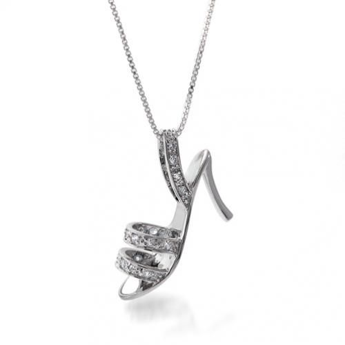 Diamond CZ High Heel Shoe Charm Pendant 18in