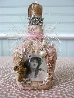 altered art bottle Shabby - this would be a lovely way to display an old photograph of someone special.