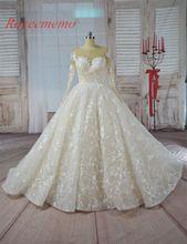 US $348.00 Vestido de Noiva long sleeve Ball Gown Vintage Robe De Mariage special lace design nude tulle sleeve wedding dress factory. Aliexpress product