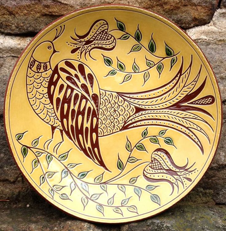Folk Bird - Pennsylvania Redware - Sgraffito   SGR401 by WilzPottery on Etsy