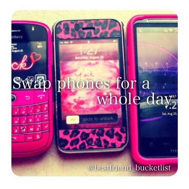 • swap phones for a whole day • I can trust my bestfriend with my phone and wouldn't mind swapping because we both have iPhones :) we can be in control of each others twitters/snapchats/keeks/instagram/texts etc.. It's so fun, tag your bestfriend who you want to swap phones with. #qotd- what phone do you have? Mines iPhone 4S ~ @l0ve_fashi0n - @bestfriend_bucketlist- #webstagram