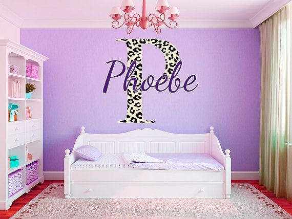 "Leopard Print Monogram Name Girls Room Vinyl Wall Decal Graphics 35"" Tall Bedroom Decor"