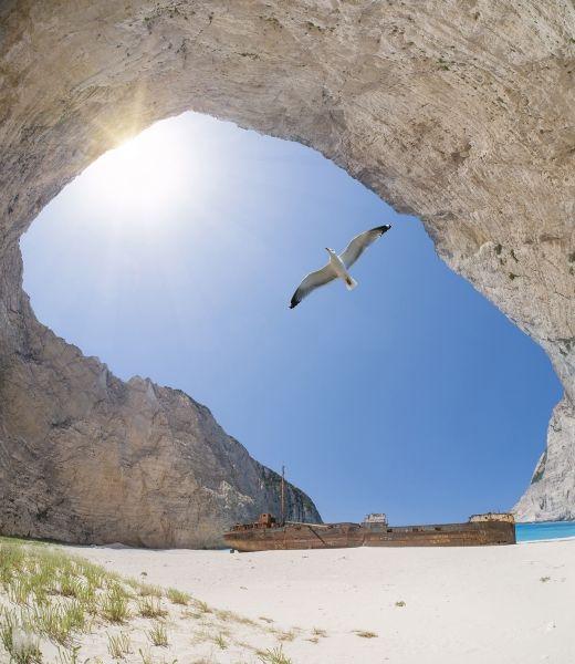 Unusual angle of the Shipwreck Beach