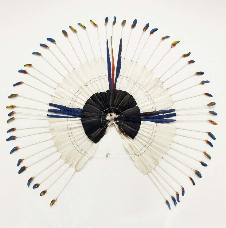 Brazil ~ Pará State   Headdress worn by the Karaja people of Rio Tocantins   Late 20th century   Feather, wood, plant fibers and cotton.