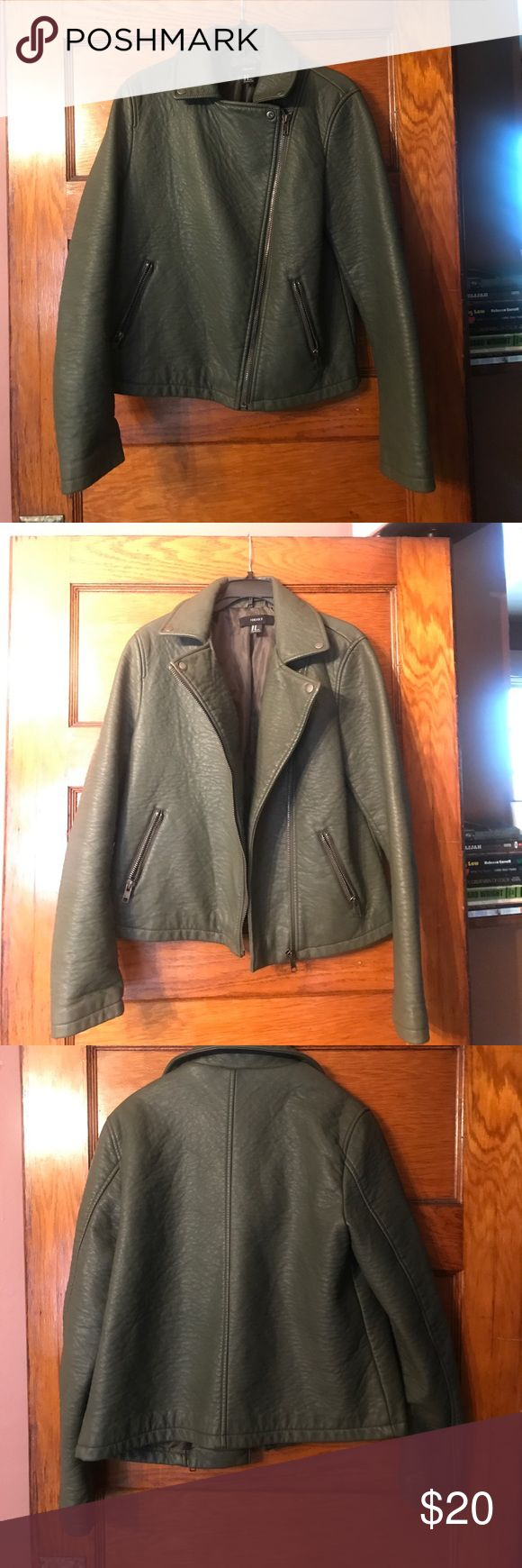 Olive green leather jacket Perfect for fall weather leather jacket Forever 21 Jackets & Coats Jean Jackets