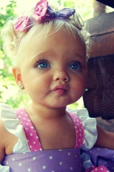 Those big blue eyes and blonde hair, cute... hopefully ...