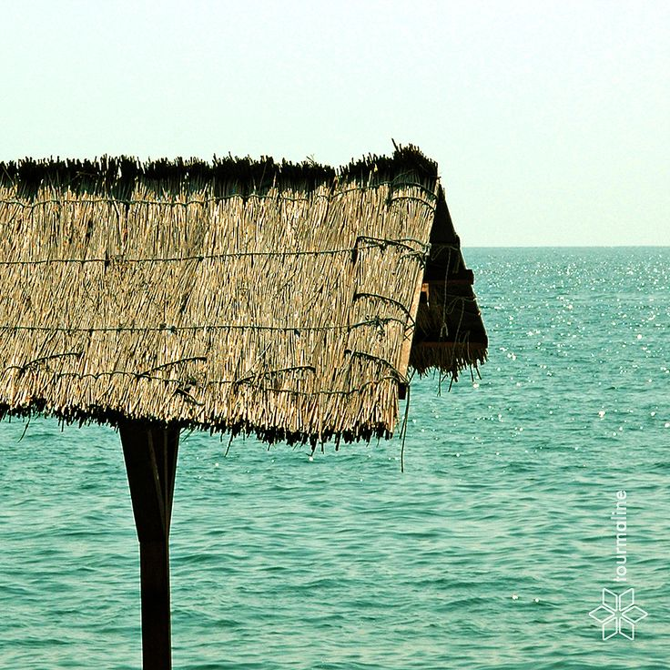 #sea #tourmalinepro #free_Image #thatched_roof #flecks_of_sunlight #green #yellow #heat #minimalism #relaxation #recreation #sky #horizon #canopy #sea_ripple #calm #weekend