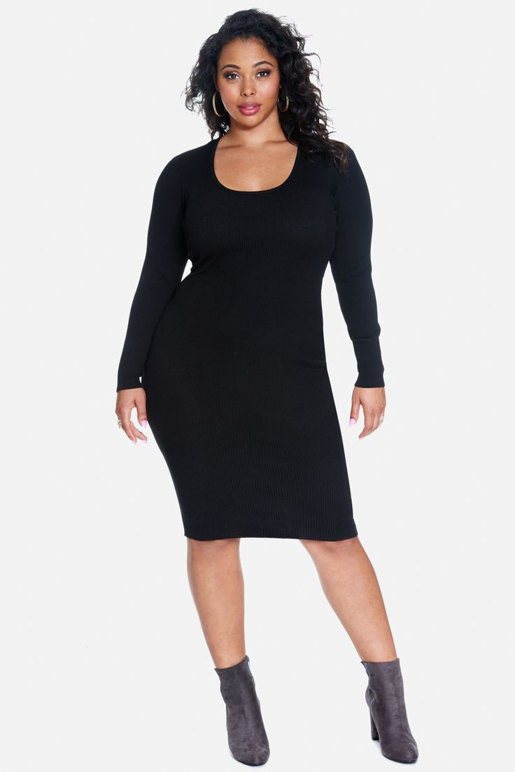 Plus Size Amanda Ribbed Sweater Dress