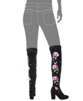 Carlos by Carlos Santana Quality Embroidered Over-The-Knee Boots - Black 5.5M