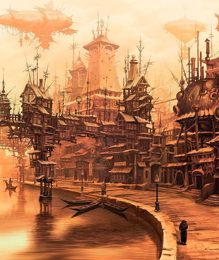 A fantasy city with steampunk (anime?) -like elements (Sergey Skachkov)