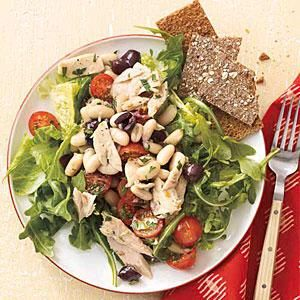 Serve Tuna and White Bean Salad over mixed greens, or make this tasty salad into sandwiches! Simply mash the beans and spread them inside 4 whole-grain pitas, then stuff in the remaining ingredients.