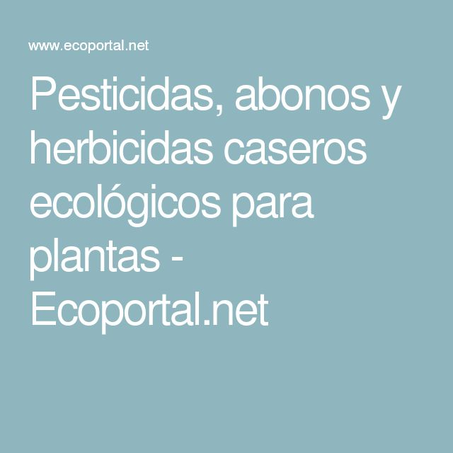 Pesticidas, abonos y herbicidas caseros ecológicos para plantas - Ecoportal.net