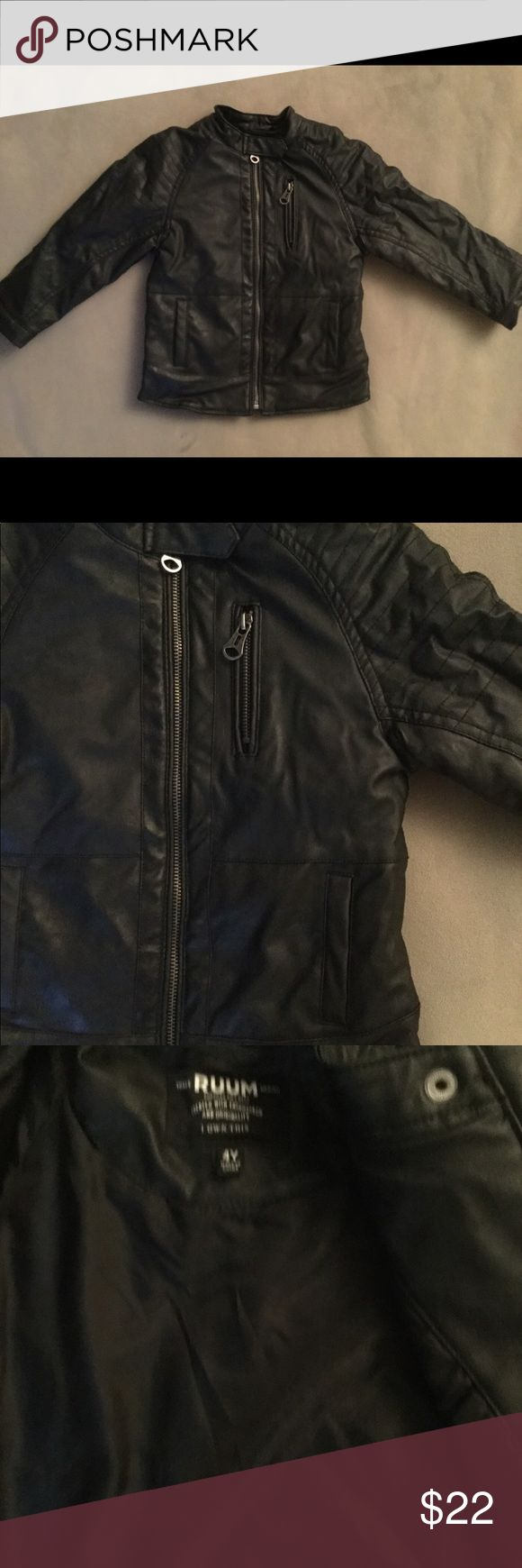 Ruum boys bomber jacket sz4 Ruum boys bomber jacket size 4. Faux leather. Black in color. Zip up front. Ruum Jackets & Coats