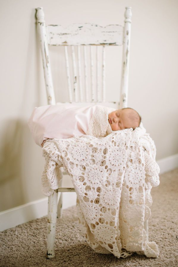 Newborn cutie! http://www.stylemepretty.com/living/2016/11/09/tour-the-sweetest-vintage-nursery/ Photography: Corrina Walker - http://www.calgary-wedding-photographer.com/