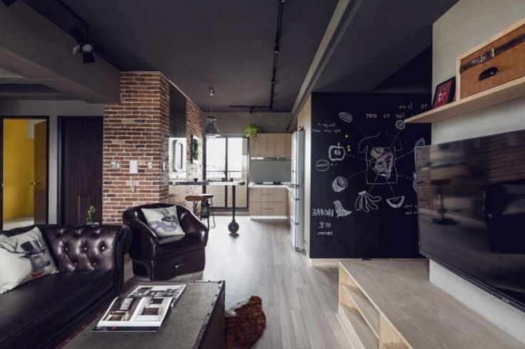 Decoration: Small Apartment Design Ideas With Blackboard Walls Also Laminated Wooden Floor And Industrial Themed Furnishing Ideas: Phenomenal Marvel Heroes Themed Home With Concrete Finish
