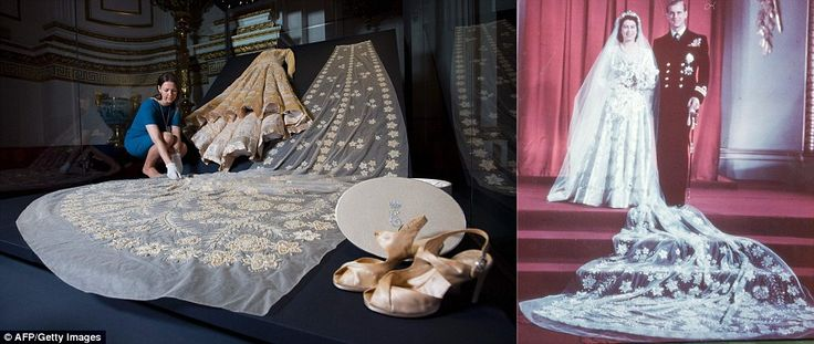 Sir Norman Hartnell's magnificent creation is in ivory silk, decorated with crystals and 1...