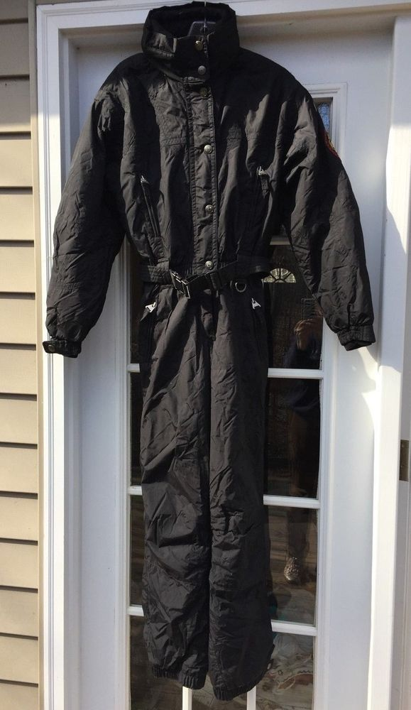 Vtg Killy Black One Piece Ski Snow Suit Hood Marked Size 6 and Junior 12 #Killy
