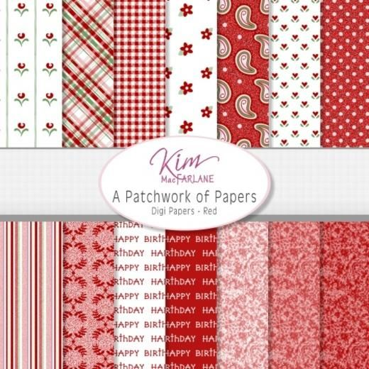 Kim's Digi Papers - A Patchwork of Papers - Red
