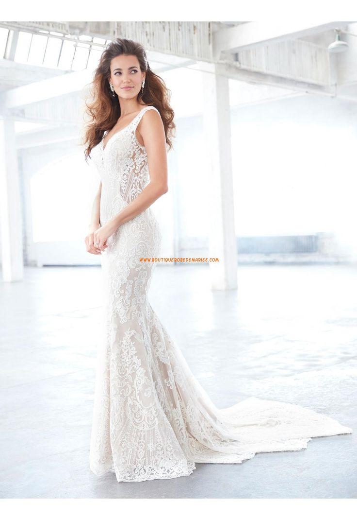 Robe de mariée dentelle sans manches dos nu col en v simple pas cher