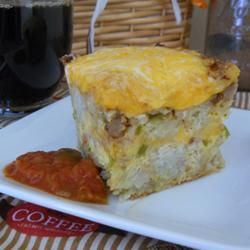Potato and Cheese Breakfast Casserole - Tater tots, sausage, eggs ...