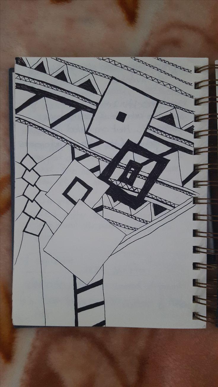 Airplane doodle. Black Marker on Paper.