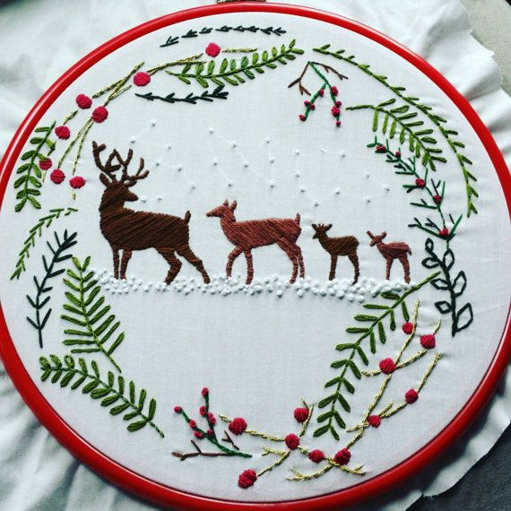 Christmas Embroidery Winter Embroidery by ThreadEnds on Etsy