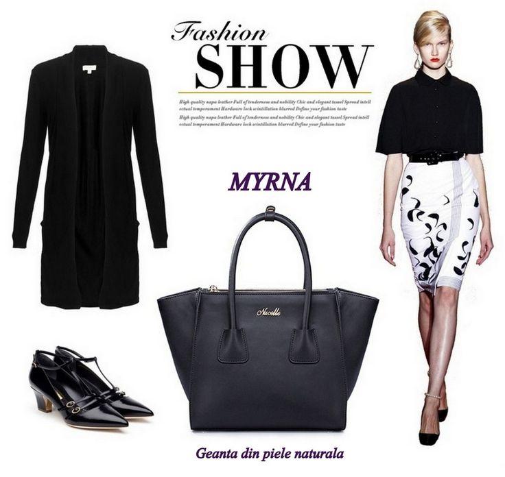 "Pentru un look fashion, foarte feminin, vedeta este MYRNA - geanta tip ""tote bag"" realizata din piele naturala!"