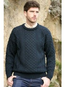 Lightweight Pure Wool Aran Cable Sweater C1347 -Black Watch-L 1