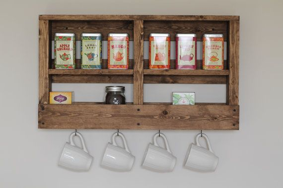 Rustic Wooden Coffee and Tea Rack Coffee Bar by DunnRusticDesigns