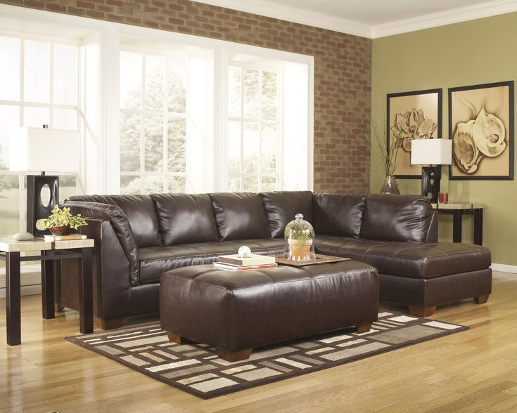2 pc signature durablend collection mahogany bonded leather upholstered sectional sofa with chaise
