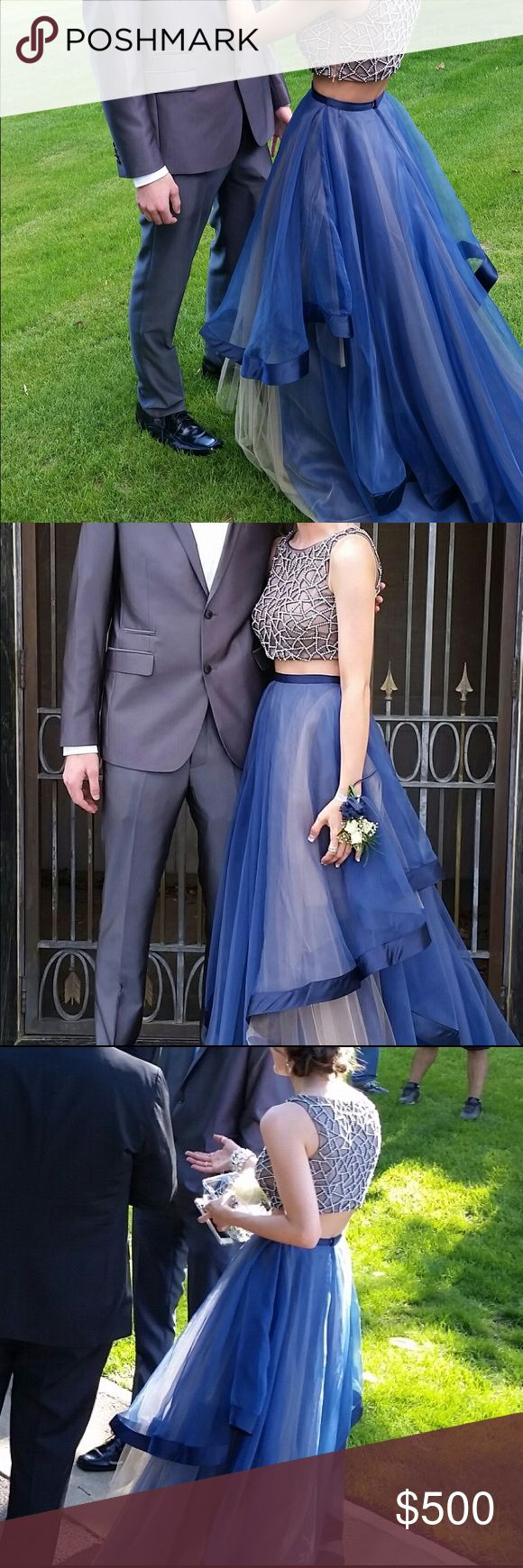 Dark Blue/Navy Prom Dress Two piece embellished (top) prom dress with dark ribbon edge bottom. Worn once, in great condition. I got SOOO many compliments on this! Terani Couture Dresses Prom