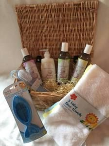 Bubbles Everywhere! Baby hamper with beautiful hand woven wicker basket