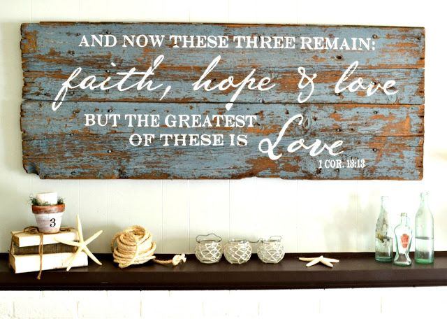 And now these three remain: faith, hope & love, but the greatest of these is love | wood sign by Aimee Weaver Designs