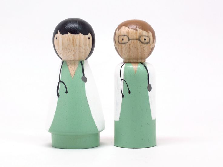 Fair Trade Wooden Toys -Two Little Doctors - Wooden dolls Birthday Cake Toppers. $22.00, via Etsy.
