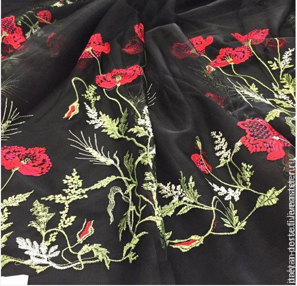 Купить -20% D&G вышивка на сетке, Италия - итальянские ткани, ткани для шитья, ткани Италии