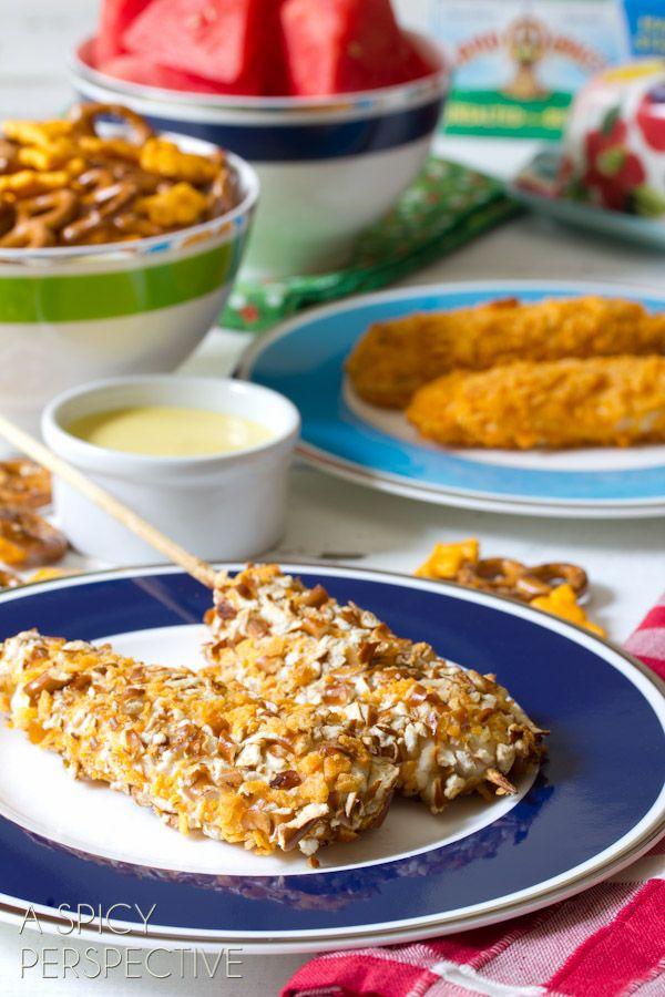 Cheesy Pretzel Chicken Pops with Honey Mustard Dip | ASpicyPerspective.com #kidfriendly #chickentenders #backtoschool #recipe