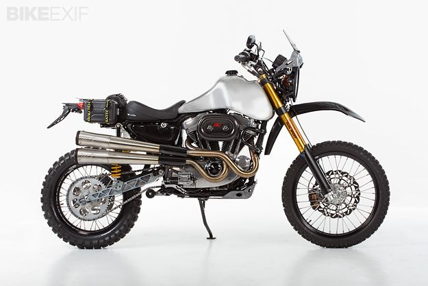 Jim Carducci has turned a Harley Sportster into a dual sport motorcycle bristling with high-tech components and engineering. Meet the Carducci Dual Sport SC3 Adventure. Read more at http://www.bikeexif.com/dual-sport-motorcycle