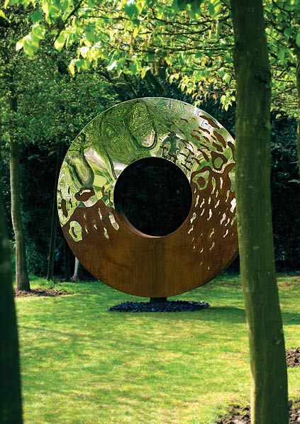 Portal large garden sculpture in two interwoven metals- heaven & earth sculptures are great #yin-yang examples by David Harber