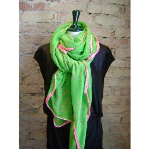 Stjernetørklæde grøn m/ rosa kant fra Mania CPH