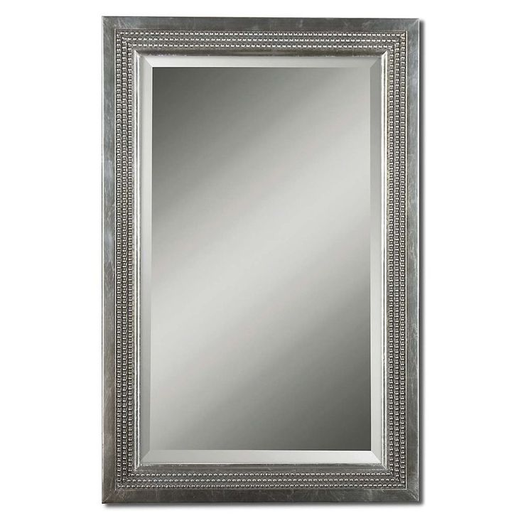 triple beaded silver leaf vanity mirror. Black Bedroom Furniture Sets. Home Design Ideas