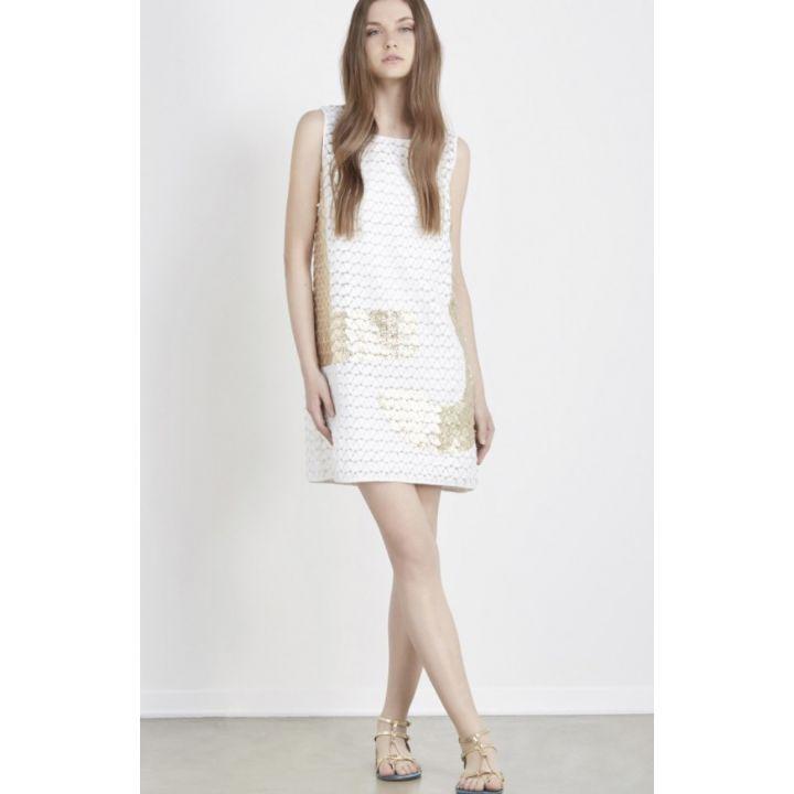 Liu Jo White Dress Golden Print