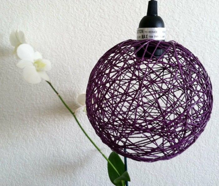 diy lampe aus lila hanfseil