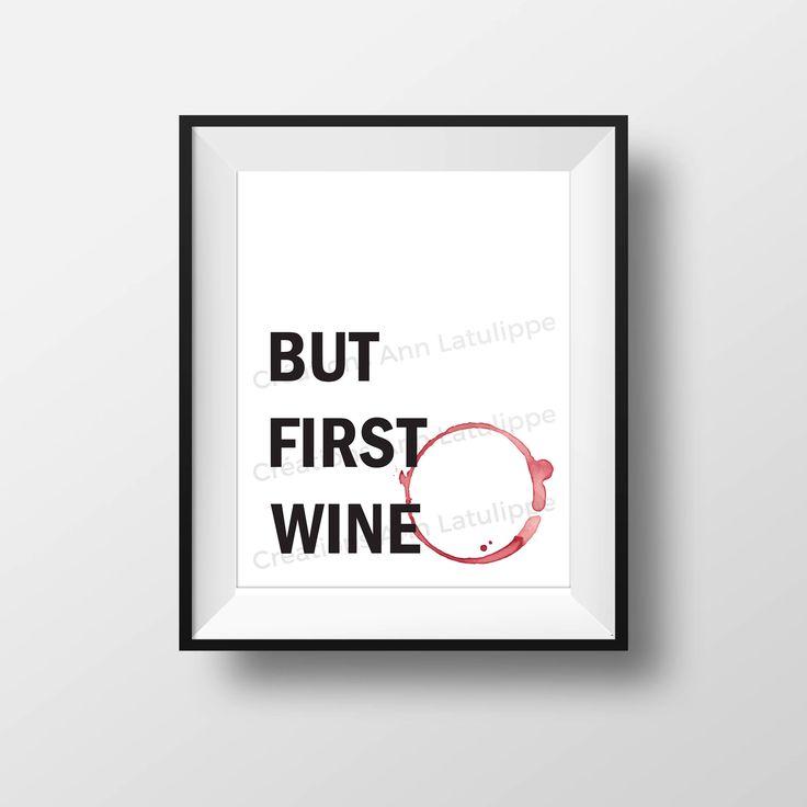 Affiche imprimable But first wine 8x10, But first wine printable poster, wall art decoration vin, citation quote decor vin à imprimer