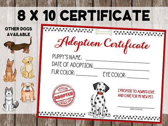 Puppy Adoption Certificate Dog Adoption Dog Party Dog Adoption Certificate Dog Adoption Puppy Adoption